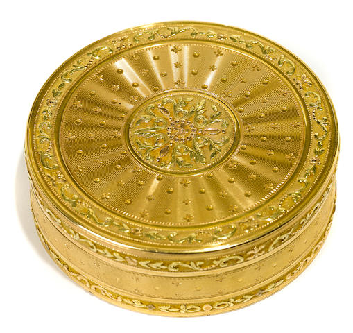 A Louis XVI vari-colored gold circular bonbonniere by Pierre-Lucien Joitteau, Paris, 1783, with later French control marks to flange
