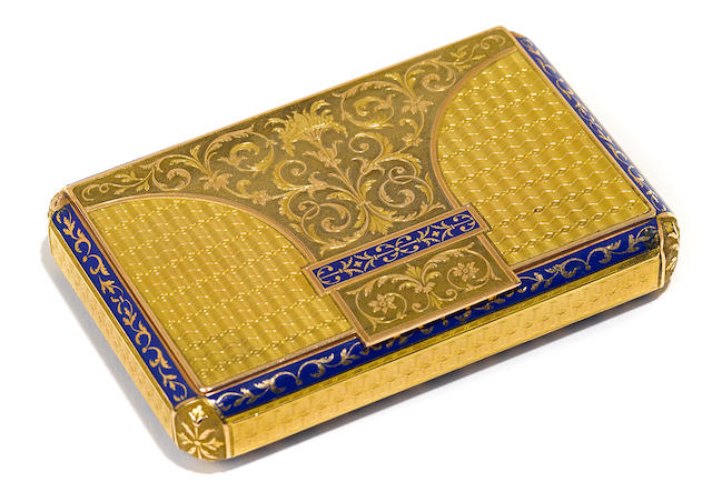 A Swiss rectangular parcel-blue-enameled gold box  by Joly & Chenevard, early 19th century, with French occupation marks