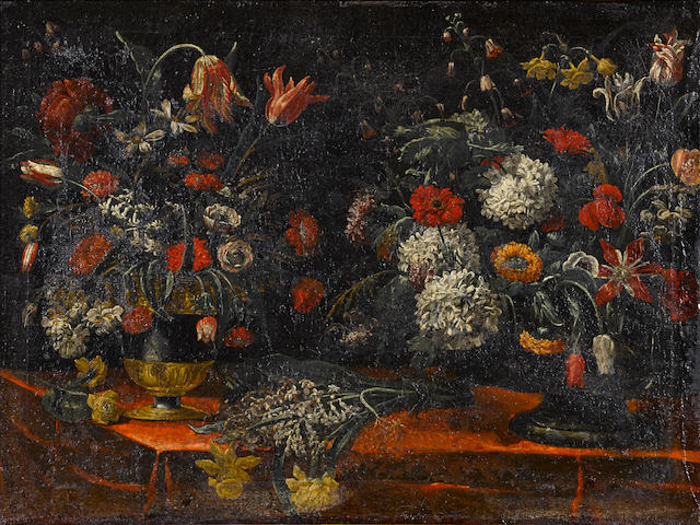 North Italian School, circa 1700 A still life with two vases of flowers resting on a draped table; and a similar still life (a pair) 30 x 39 1/2in (76.2 x 100.4cm)
