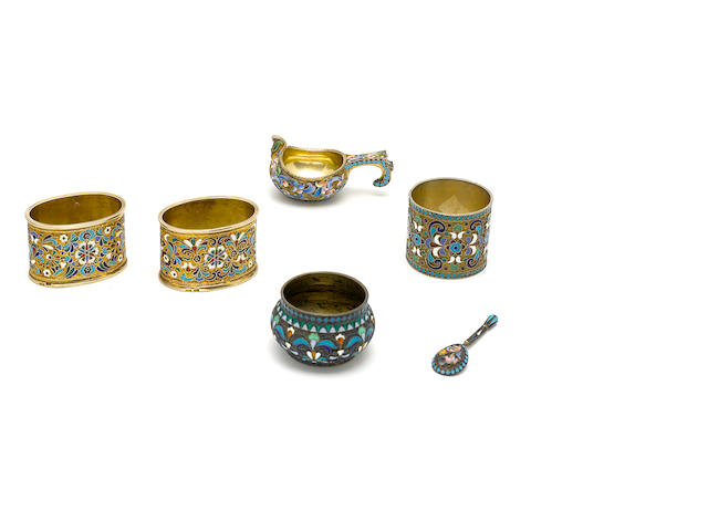 An assembled group of Russian  84 standard silver and enamel  tableware by various makers,  late 19th / early 20th century