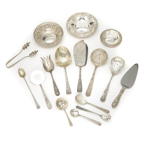 An assembled group of American sterling silver floral repousse-decorated flatware and hollowware most pieces Kirk & Son, Baltimore, MD, late 19th/20th century