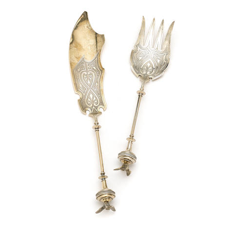 An American  silver gilt  two-piece figural fish serving set  by George B. Sharp, Philadelphia, PA; retailed by Ford & Tupper,  circa 1875