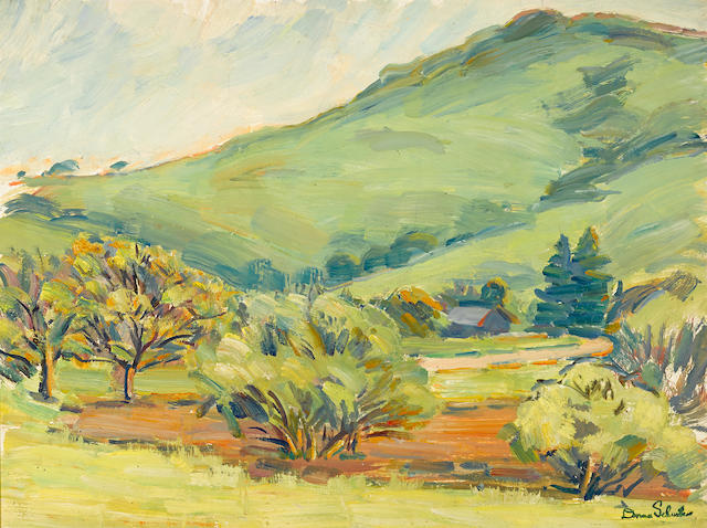 Donna N. Schuster (American, 1883-1953) Rolling hills 18 x 24in