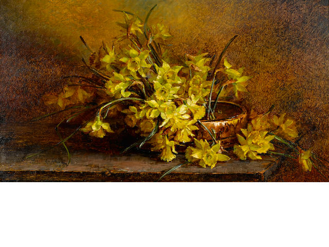 Mary Herrick Ross (American, 1856-1935) Daffodils in an Indian basket, 1893 18 x 32in