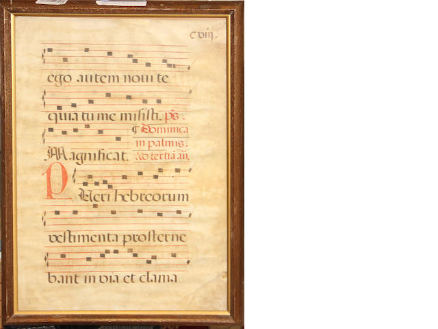 A medieval music manuscript on sheepskin, framed and glazed