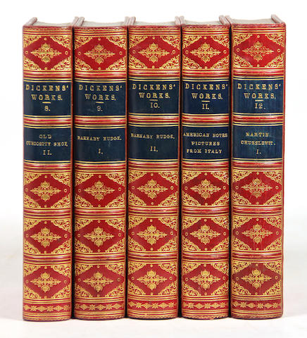 DICKENS. Works. 30 vols. Crimson calf.