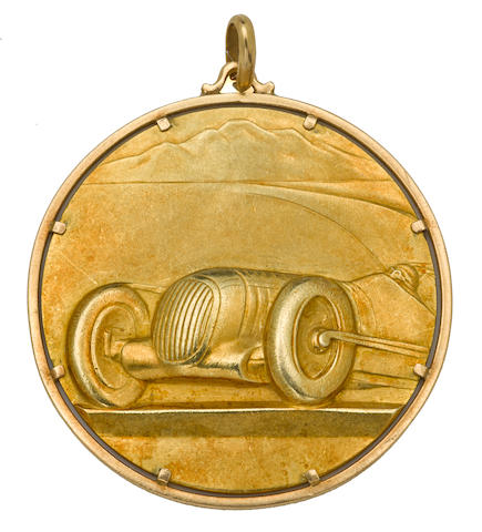 A first place gold medal for the 37th Annual Targa Florio, May 24, 1953, awarded to Umberto Maglioli,