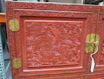 A fine cinnabar lacquer scholar's chest with dragon decoration 18th/19th century