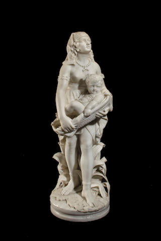 An Italian Carrara marble figural group of the Pharaoh's daughter holding the infant Moses<BR />Fausto Biggi (Italian, fl. late 19th century)<BR />fourth quarter 19th century
