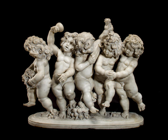A Continental marble group of five dancing putti early 20th century
