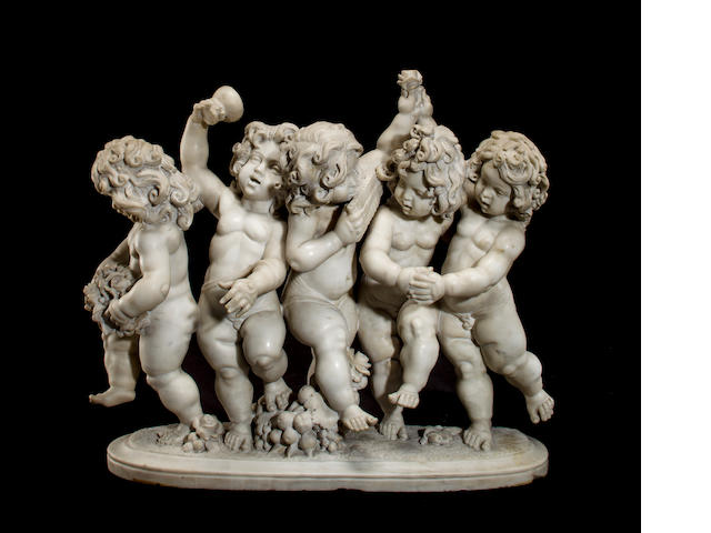 A Continental marble group of five dancing putti<BR />early 20th century