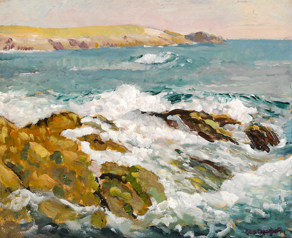 Paul Dougherty (American, 1877-1947) Waves on a rocky coast 12 3/4 x 15 3/4in