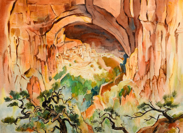 Gene Kloss (American, 1903-1996) Kayenta cliff dwelling image: 21 1/4 x 28 3/4in sheet: 22 x 29 1/4i