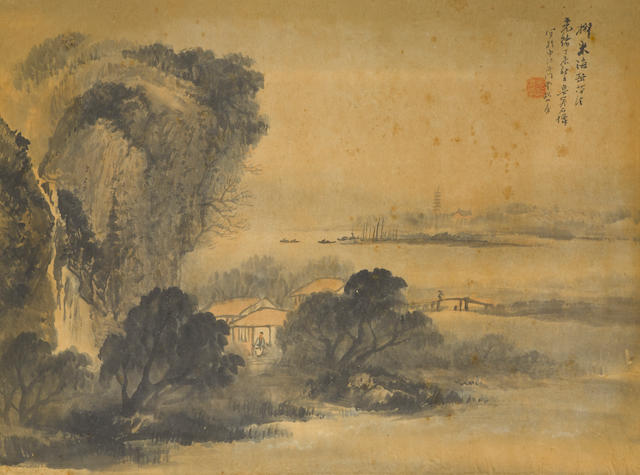 Wu Shixian (1845-1916) Four framed landscapes, 1907