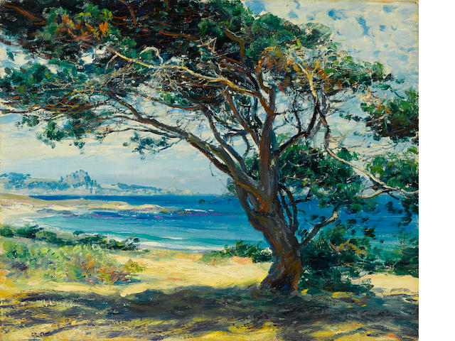Guy Rose (American, 1867-1925) Wind swept pines 15 x 18in