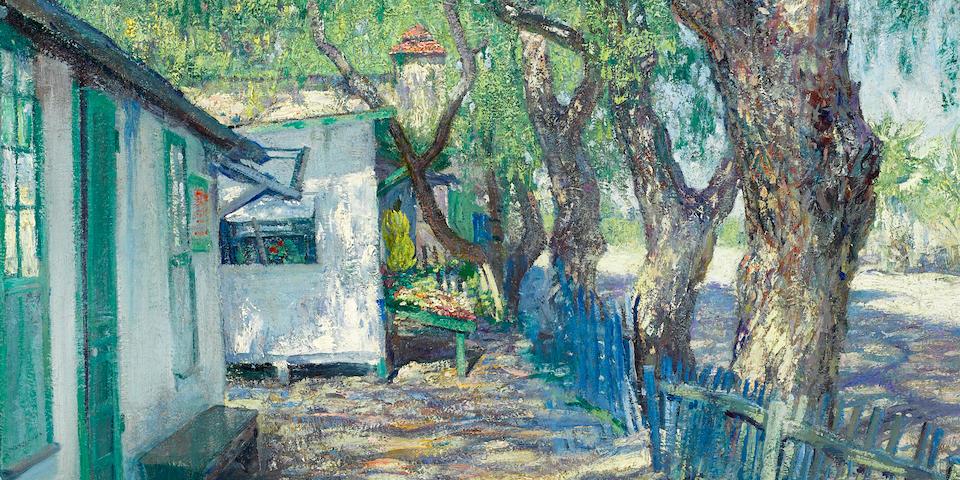 Guy Rose (American, 1867-1925) San Gabriel Road, circa 1914 24 x 29 1/4in