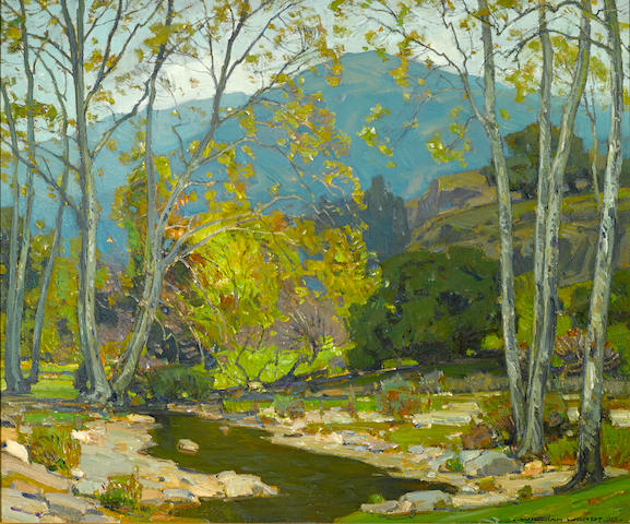 William Wendt (American, 1865-1946) Quiet brook, 1923 30 x 36in