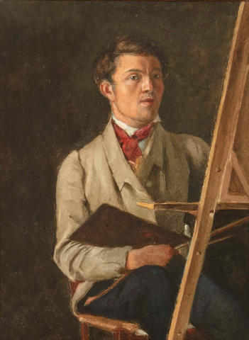 After Jean-Baptiste-Camille Corot Self portrait, sitting next to an easel (sight) 12 1/4 x 9in