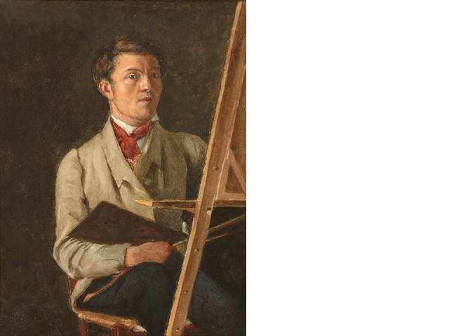 After Jean-Baptiste-Camille Corot Self portrait, sitting next to an easel 12 1/4 x 9in (sight)