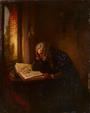Eugène François de Block (Belgian, 1812-1893) A scholar reading by a window  17 x 13 3/4in