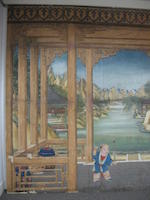 Anonymous (late 19th century) A trompe-l'oeil landscape and figural painting