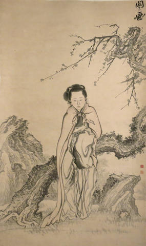 Anonymous (20th century) Beauty Leaning Against a Prunus Tree