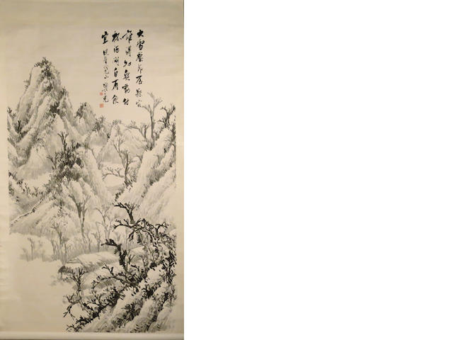 Two hanging scrolls, the first Anonymous (20th century) landscape; the second Wang Ke (1902-1973) landscape, both ink on paper