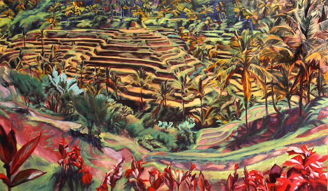 Susan Shatter (American, 1943-2011) Balinese Valley, 1988 32 x 53 1/4in