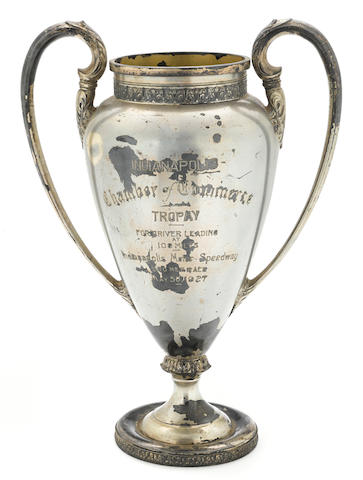 An Indianapolis 500 100-mile leader's trophy awarded to Frank Lockhart, May 30th, 1927,