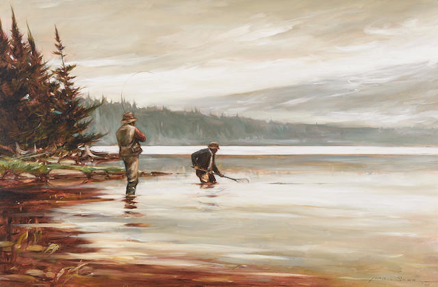 John Swan (American, born 1948) Fishermen, 1985 19 1/2 x 29 1/2in