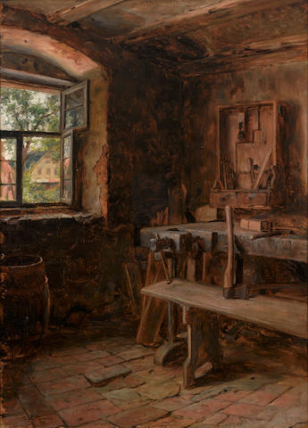 Tobias Edward Rosenthal (American, 1848-1917) Interior of a woodcarver's shop, 1905 26 3/4 x 19 1/2in