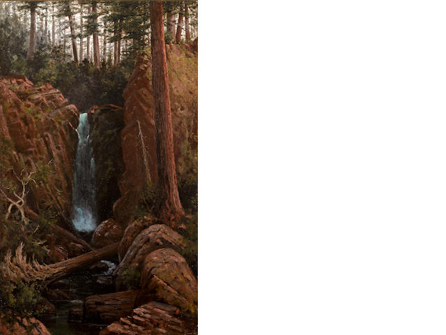 Grafton Tyler Brown (American, 1841-1918) Waterfall in a forest interior 30 x 18in