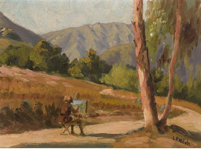 Ludmilla Pilat Welch (American, 1867-1925) Artist en plein air 8 3/4 x 11 3/4in