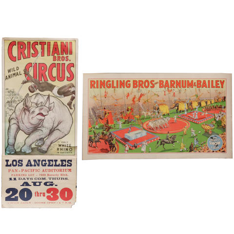 A group of circus posters