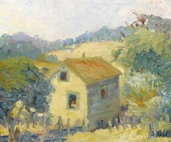 Selden Connor Gile (American, 1877-1947) House on the hill, 1916 15 x 18in