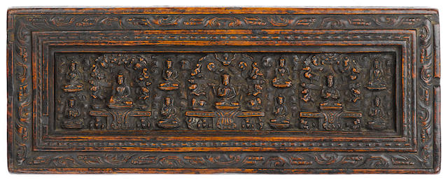 A Wood Prajnaparamita Manuscript Cover Tibet, 13th/14th century