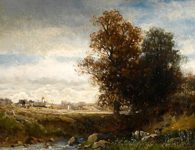 English School A pastoral river scene 7 x 8 1/2in