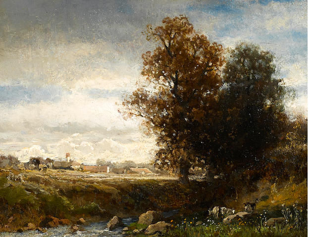 English School A pastoral river scene 7 x 8 1/2in