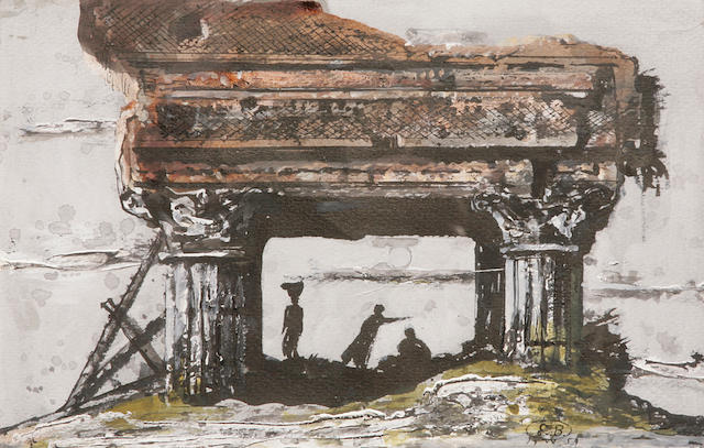 Eugene Berman (Russian/American, 1899-1972) Figures among the ruins, 1959 6 1/4 x 9 3/4in.