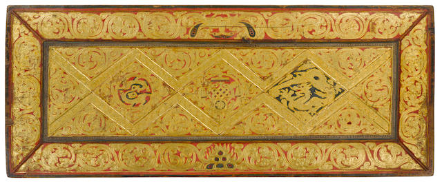 Two A Pair of Tibetan Book Covers - red and gold Tibet, XX century