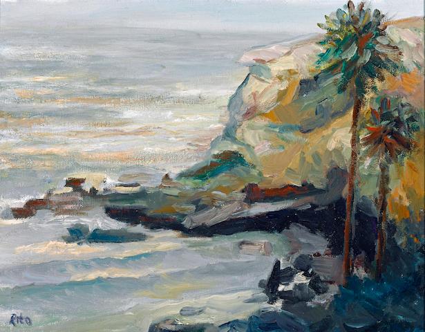 Rita Hoffman Shulak (American, born circa 1947) La Jolla shores inlet 11 x 14in