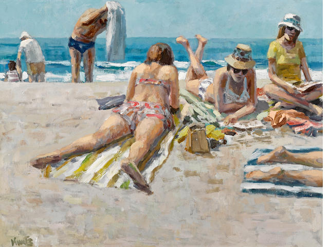 Roger Edward Kuntz (American, 1926-1975) Main beach, bathers, circa 1960s 18 1/4 x 24in
