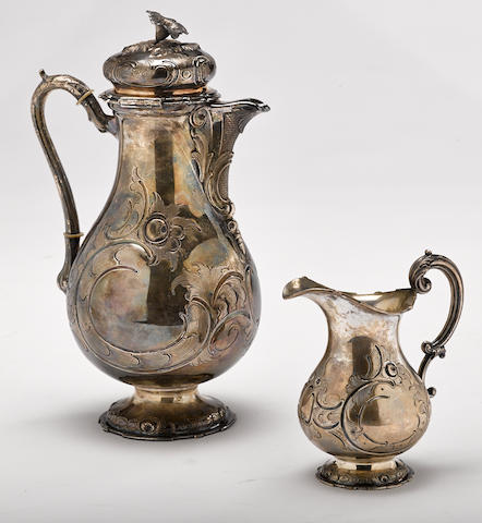 A German  800 standard silver coffee pot and cream jug by Henniger & Co., Berlin,  late 19th / early 20th century