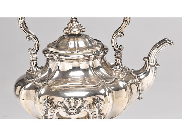 A German 13 loth standard silver kettle on stand no maker's mark evident, mid-19th century