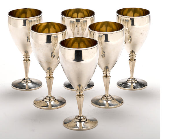 A set of six American  sterling silver  wine goblets by R. Wallace & Sons Mfg. Co., Wallingford, CT, 20th century