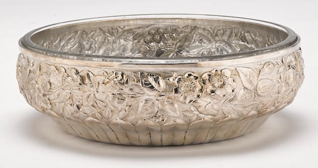 An American  sterling silver  floral repousse-decorated bowl by William Wilson & Son., Philadelphia, PA,  circa 1900