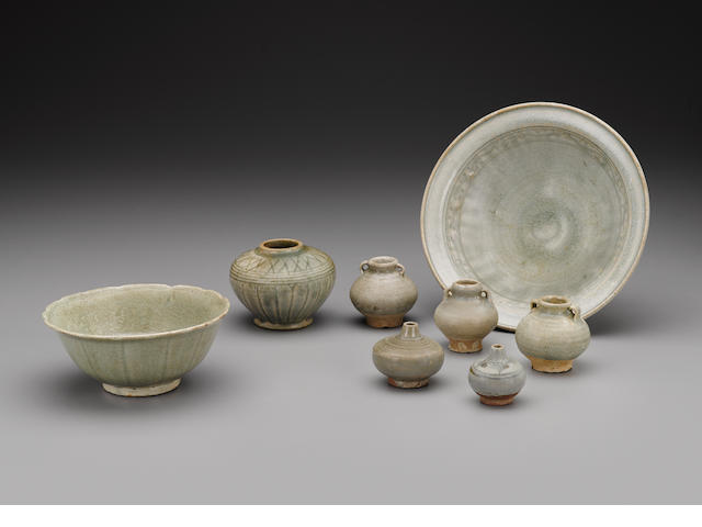 A Group of Sawankhalok Celadon Wares Thailand, Sawankhalok, 15th/16th century