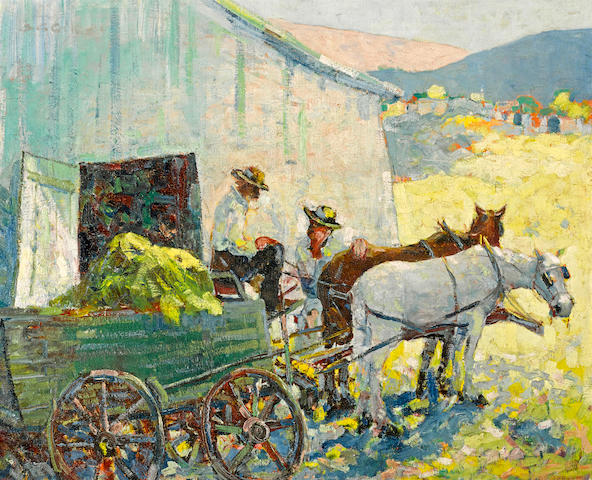 Selden Connor Gile (American, 1877-1947) Wagon team and barn 24 1/4 x 30 3/4in