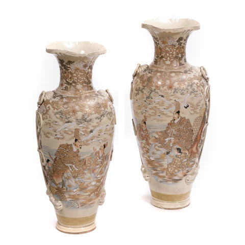 A large pair of Satsuma style baluster vases