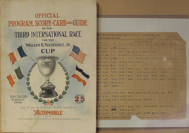 A rare original 1906 Vanderbilt Cup program,